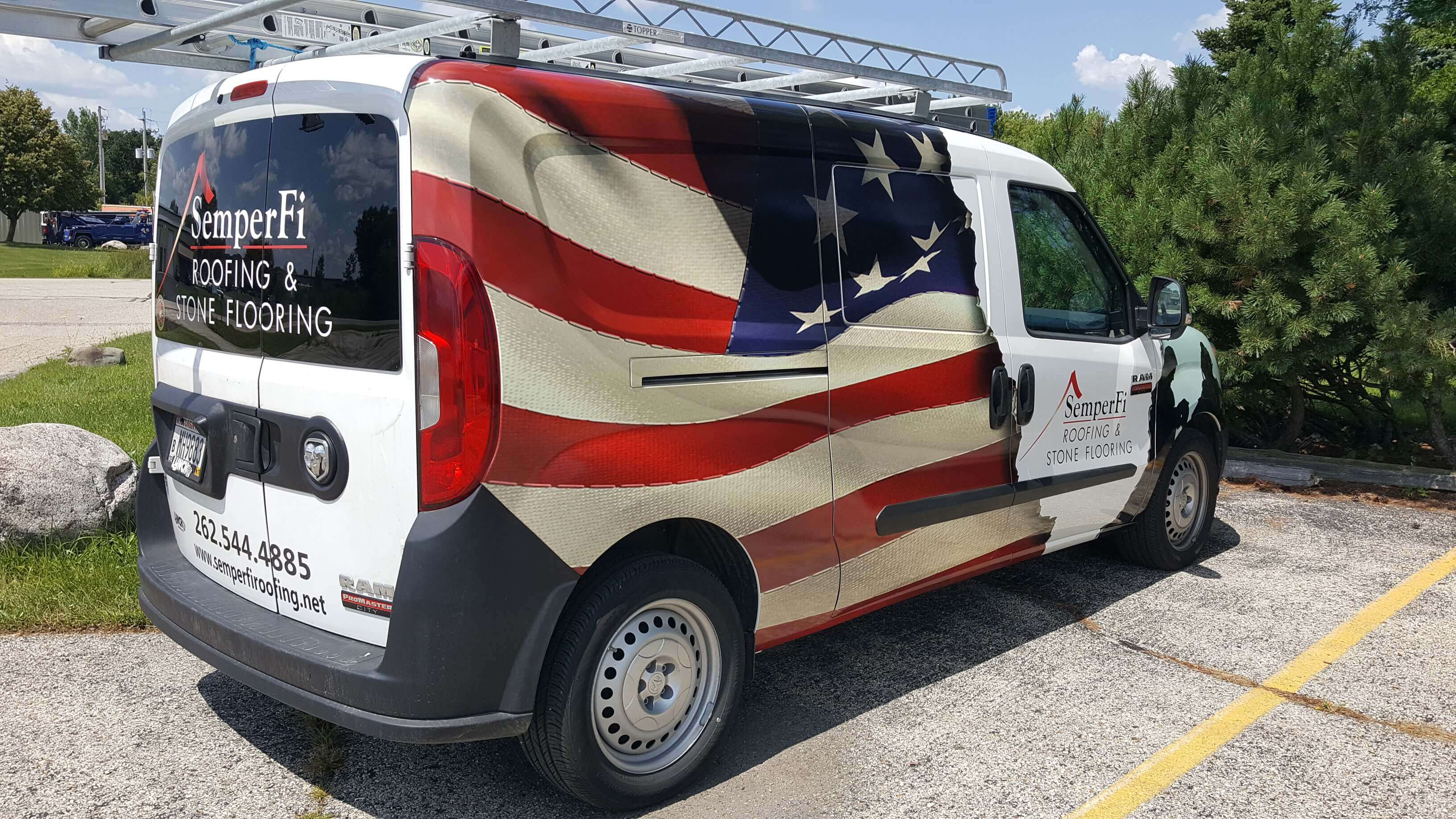 American Flag Partial Vehicle Wrap