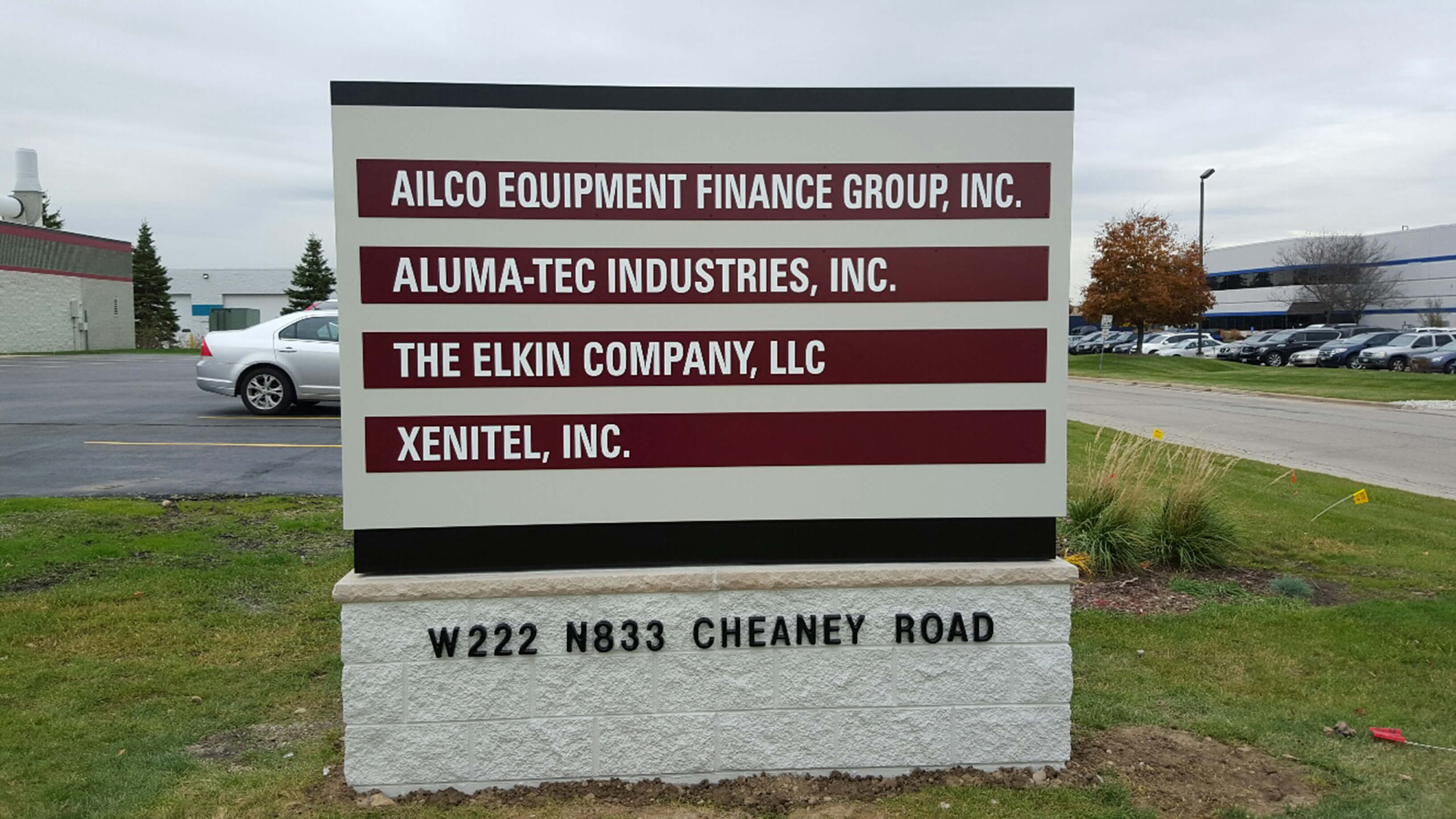 Outdoor professional business monument sign