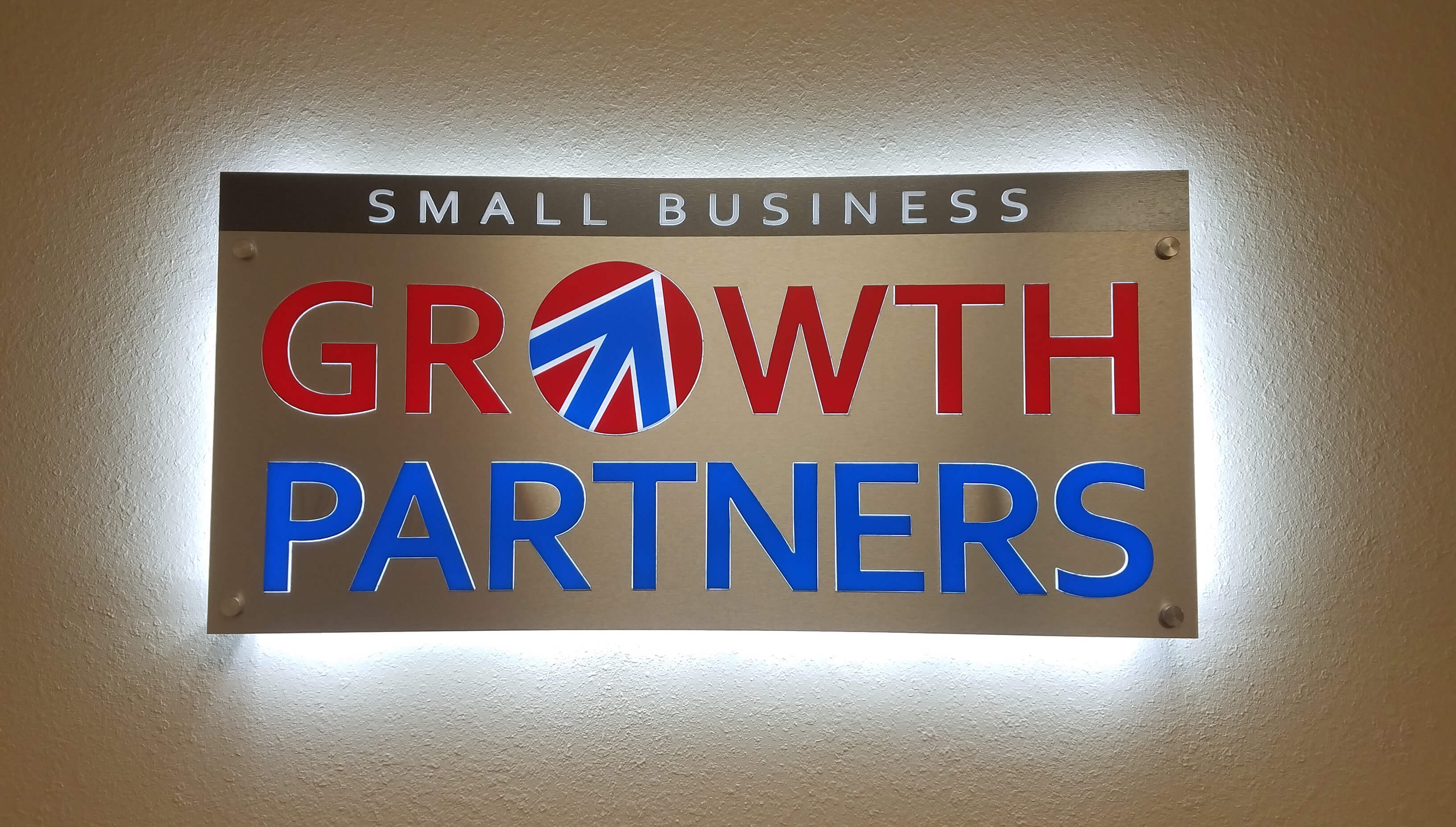 Small Business Growth Partners Interior LIt Lobby Sign