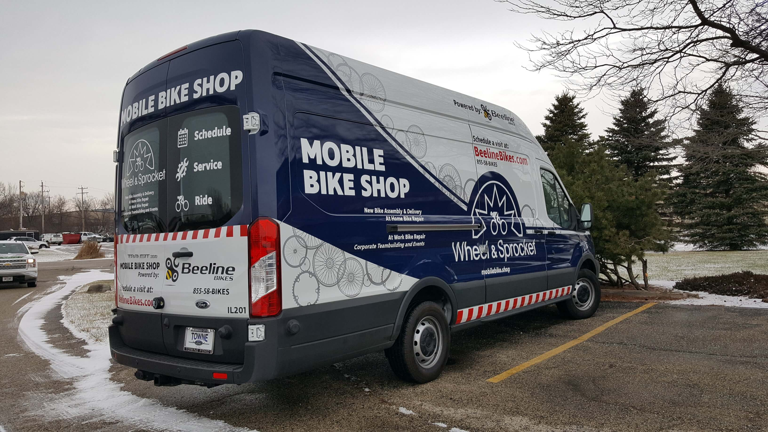 Full wrap for Wheel and Sprocket Service Vehicle with graphics