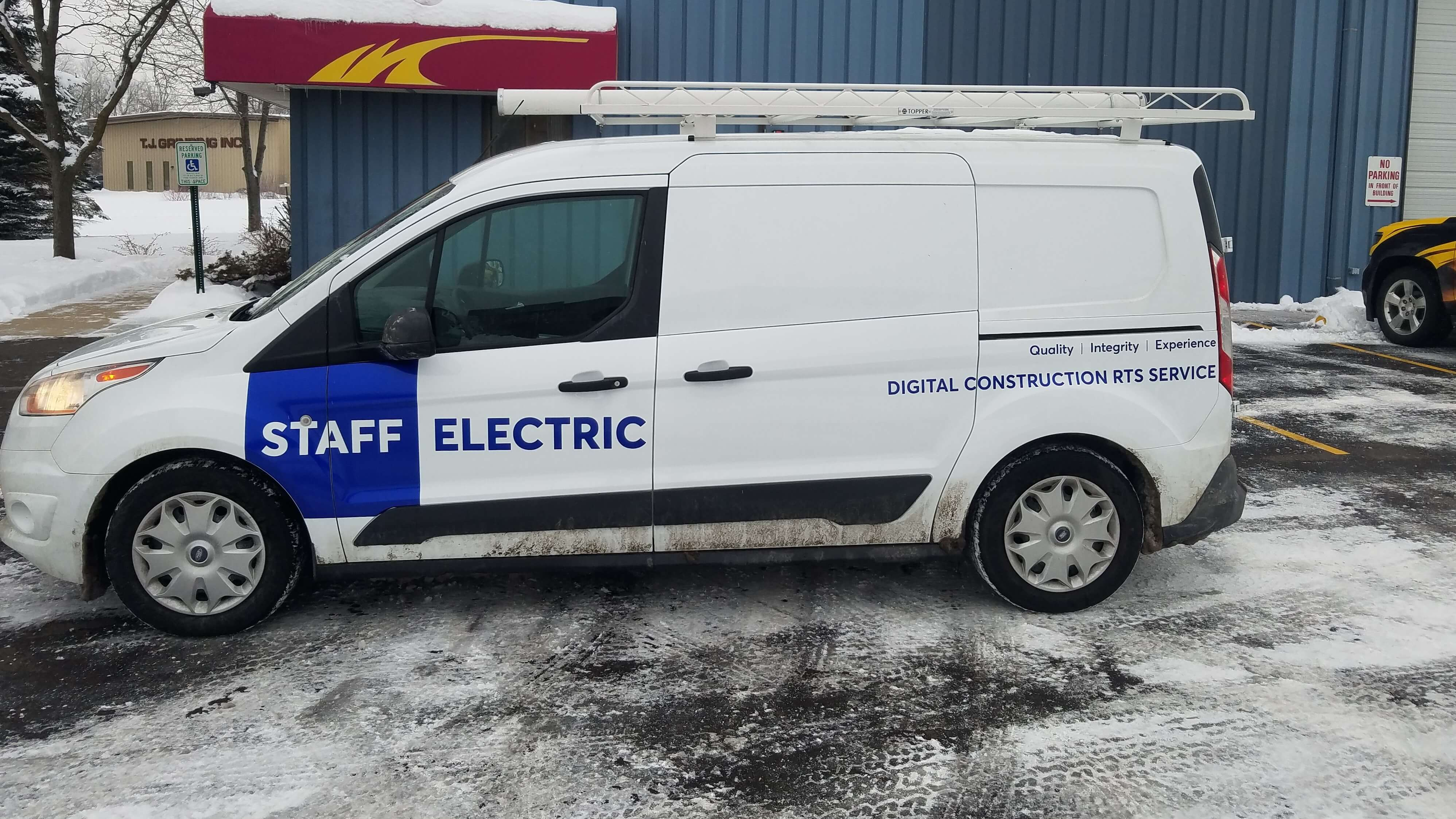 Staff electric blue spot graphics