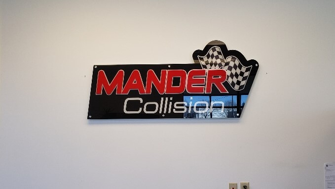 Mander collision interior lobby sign