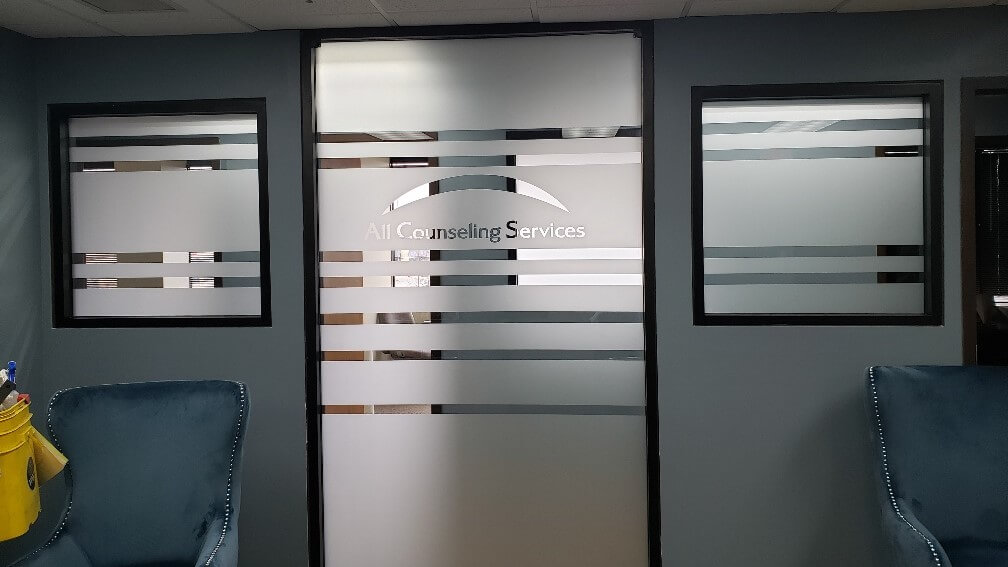 Privacy window graphics in a conference room