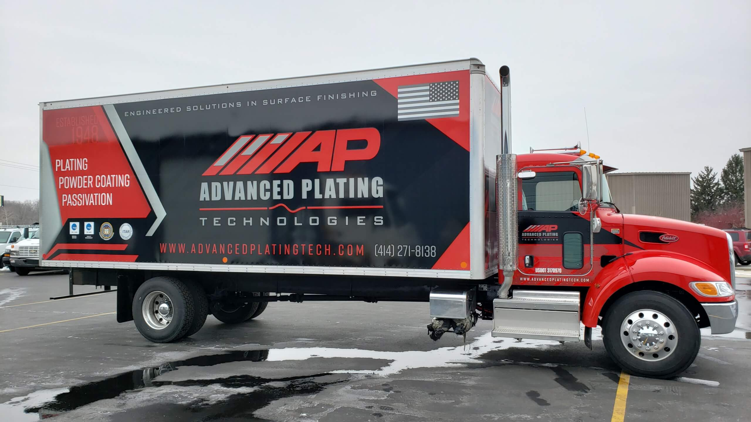 Red and Black advanced plating truck and trailer wrap