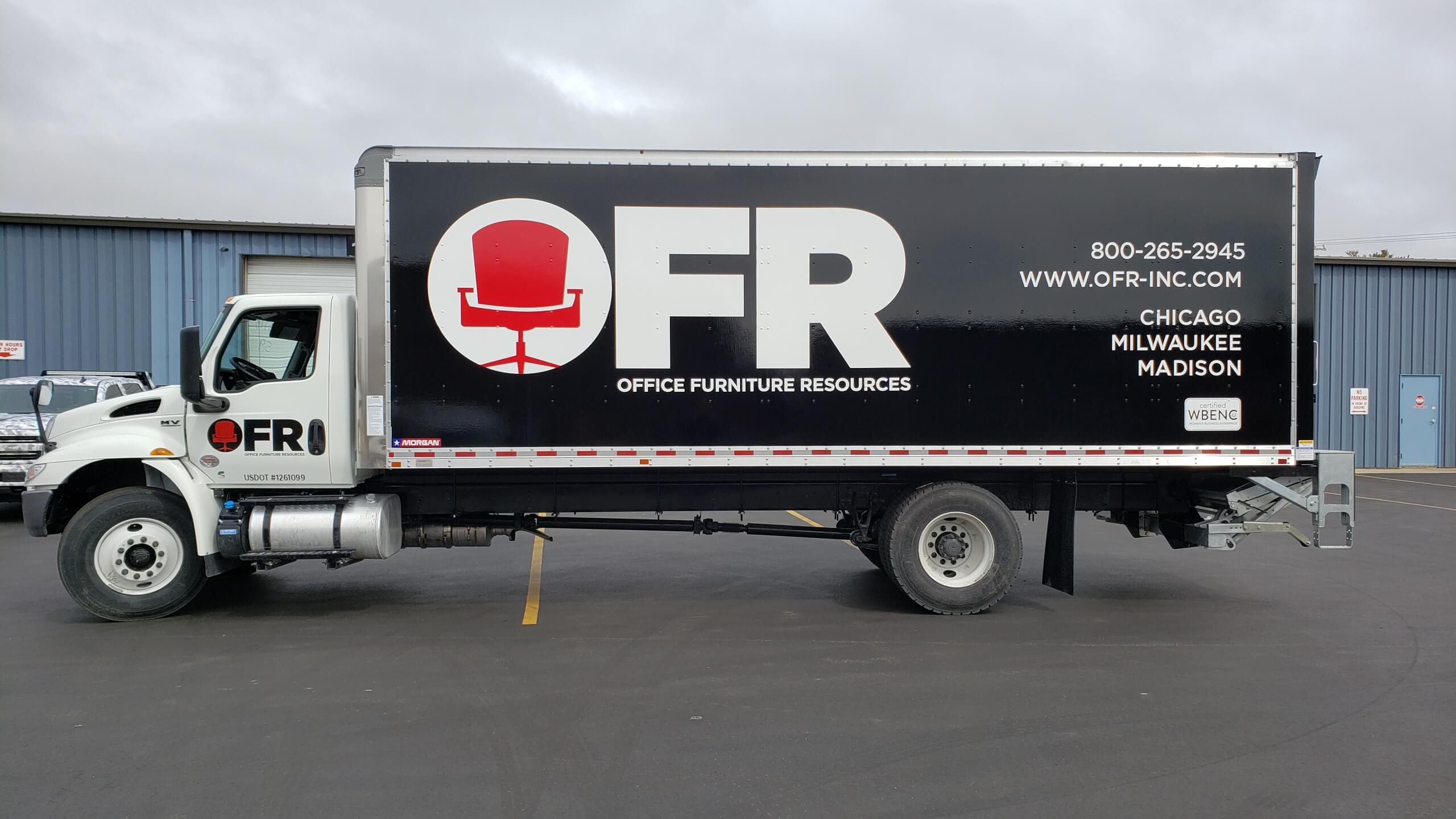 Office Furniture box truck wrap on a leased fleet