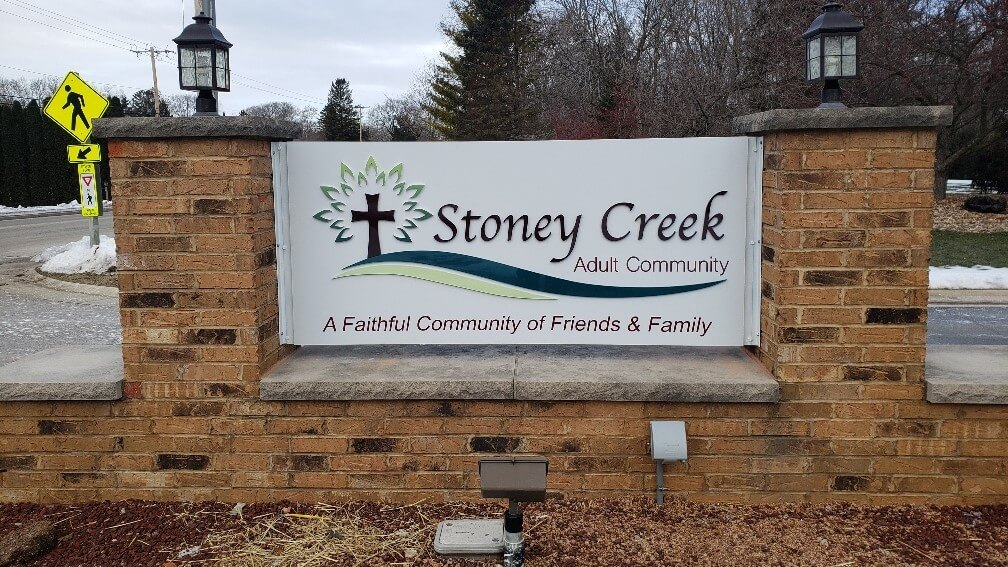 Outdoor brick monument sign for Stoney Creek Muskego