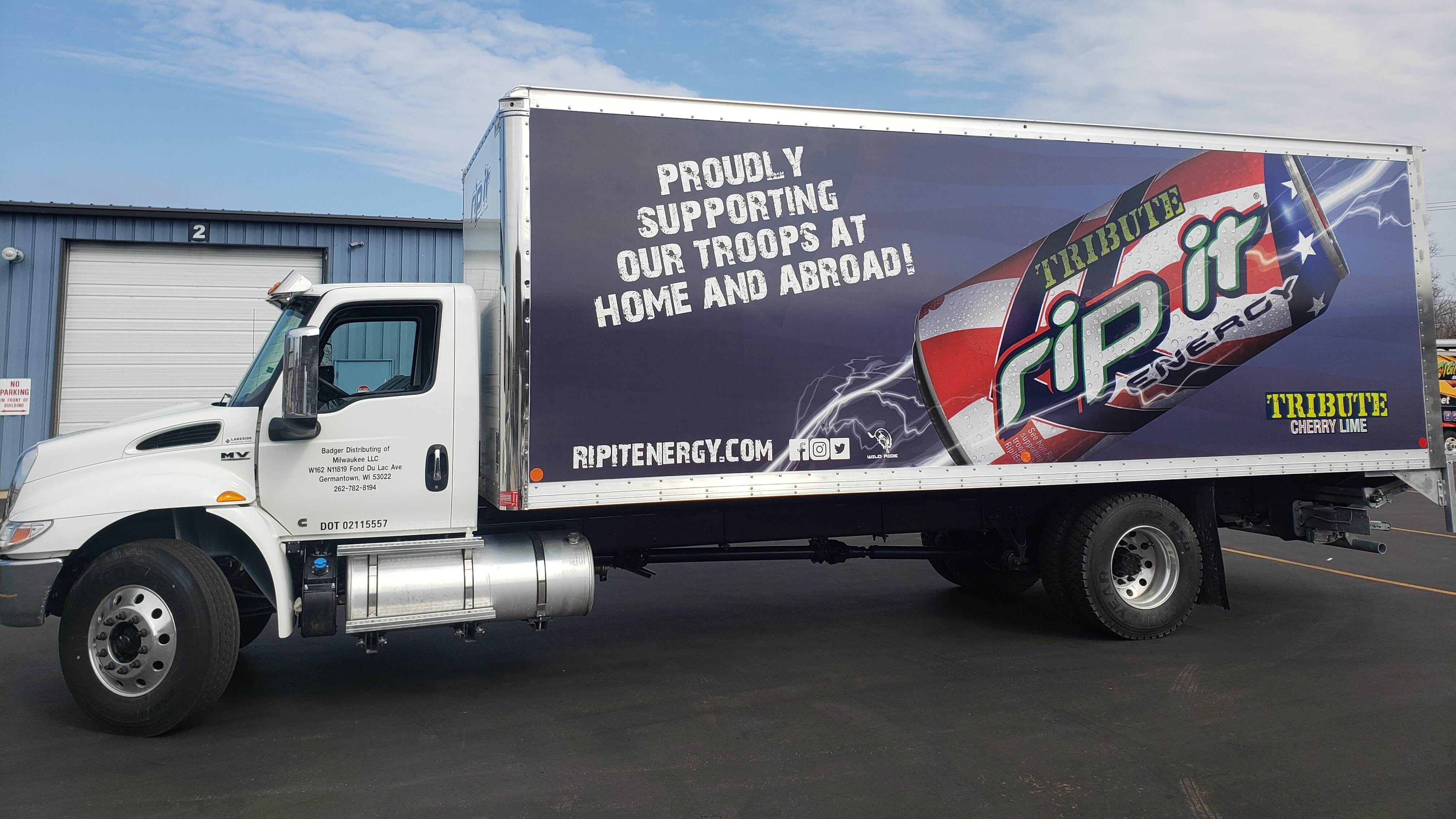 RipIt Energy box truck full color wrap design and installation