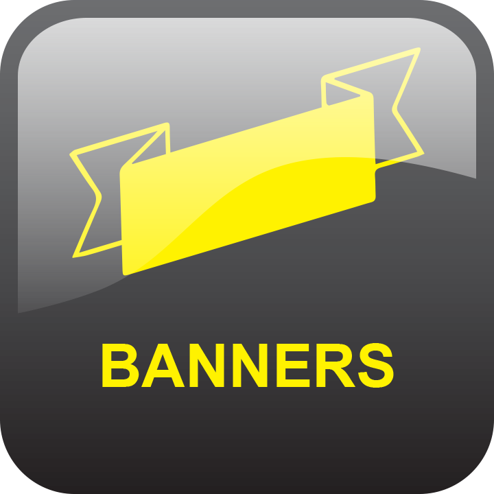 Banners by signs and lines by stretch