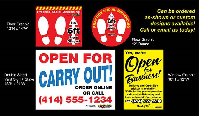 Floor Decals, Wall Graphics, and Carry out Signage Mockup Drawings for COVID-19 Vinyl
