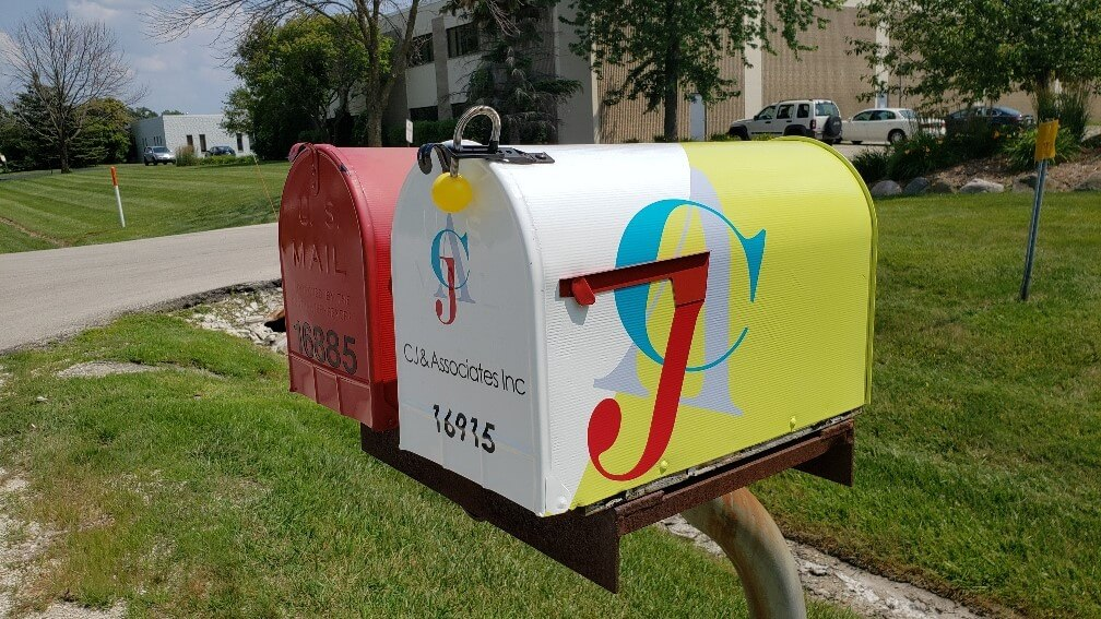 Custom made, full color address mailbox with address numbers and colors made out of Vinyl
