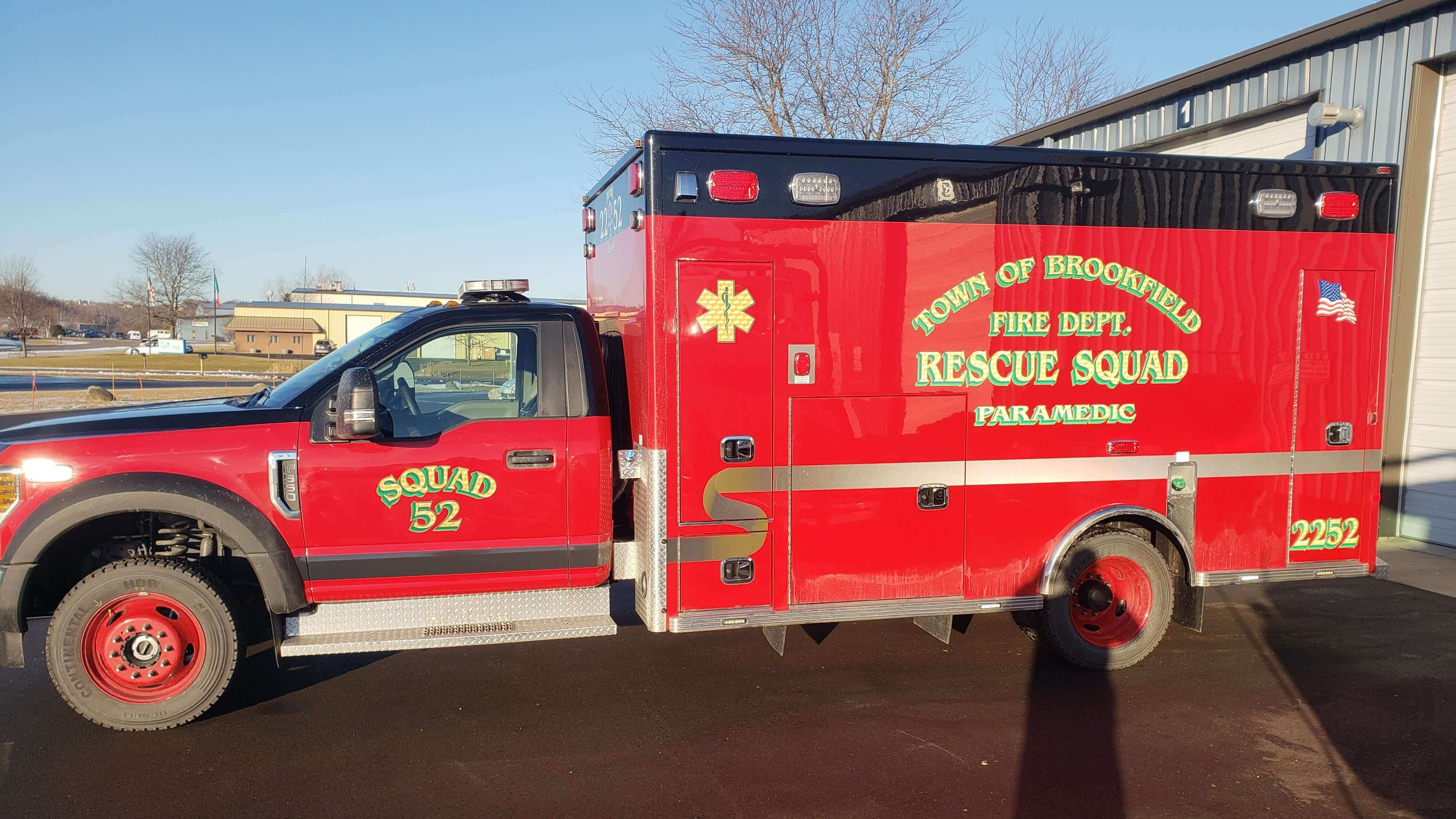 Town of Brookfield Red Ambulance with custom chevrons and detailing from Signs & Lines