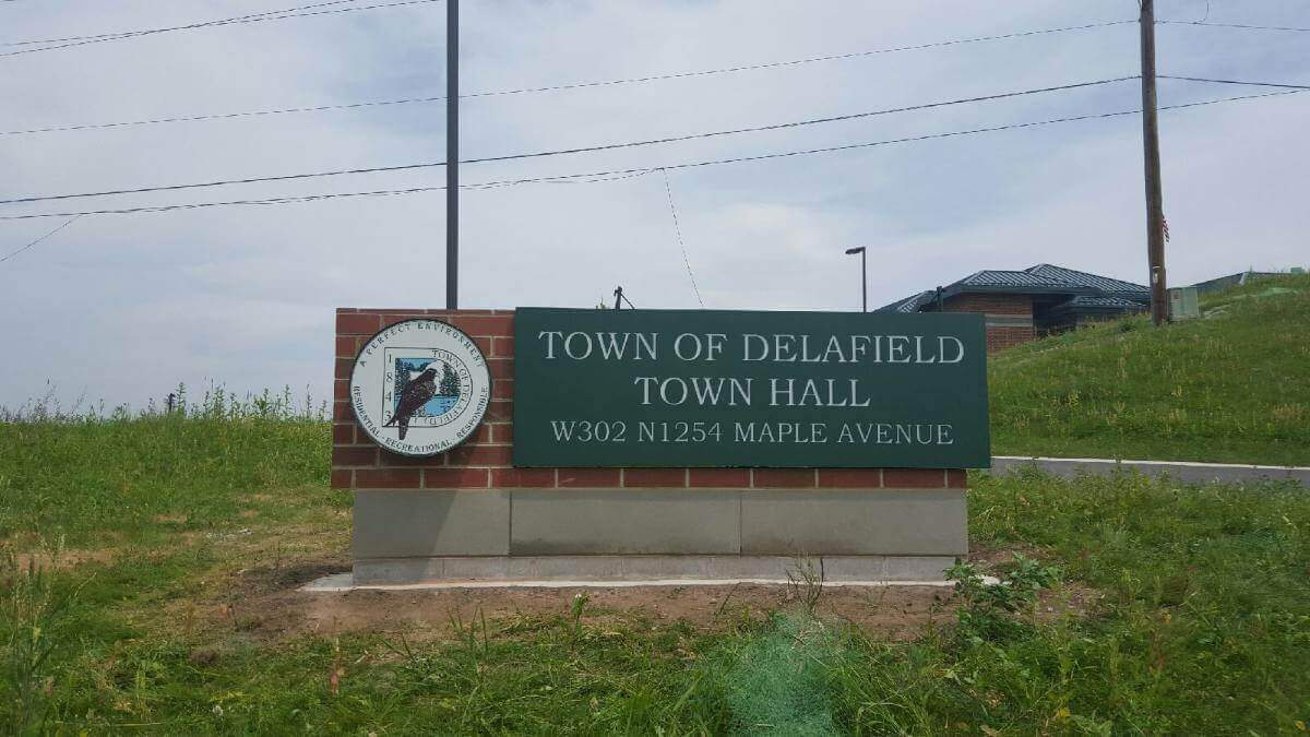 Town of Delafield large Monument Sign for City Hall with brick and metal elements