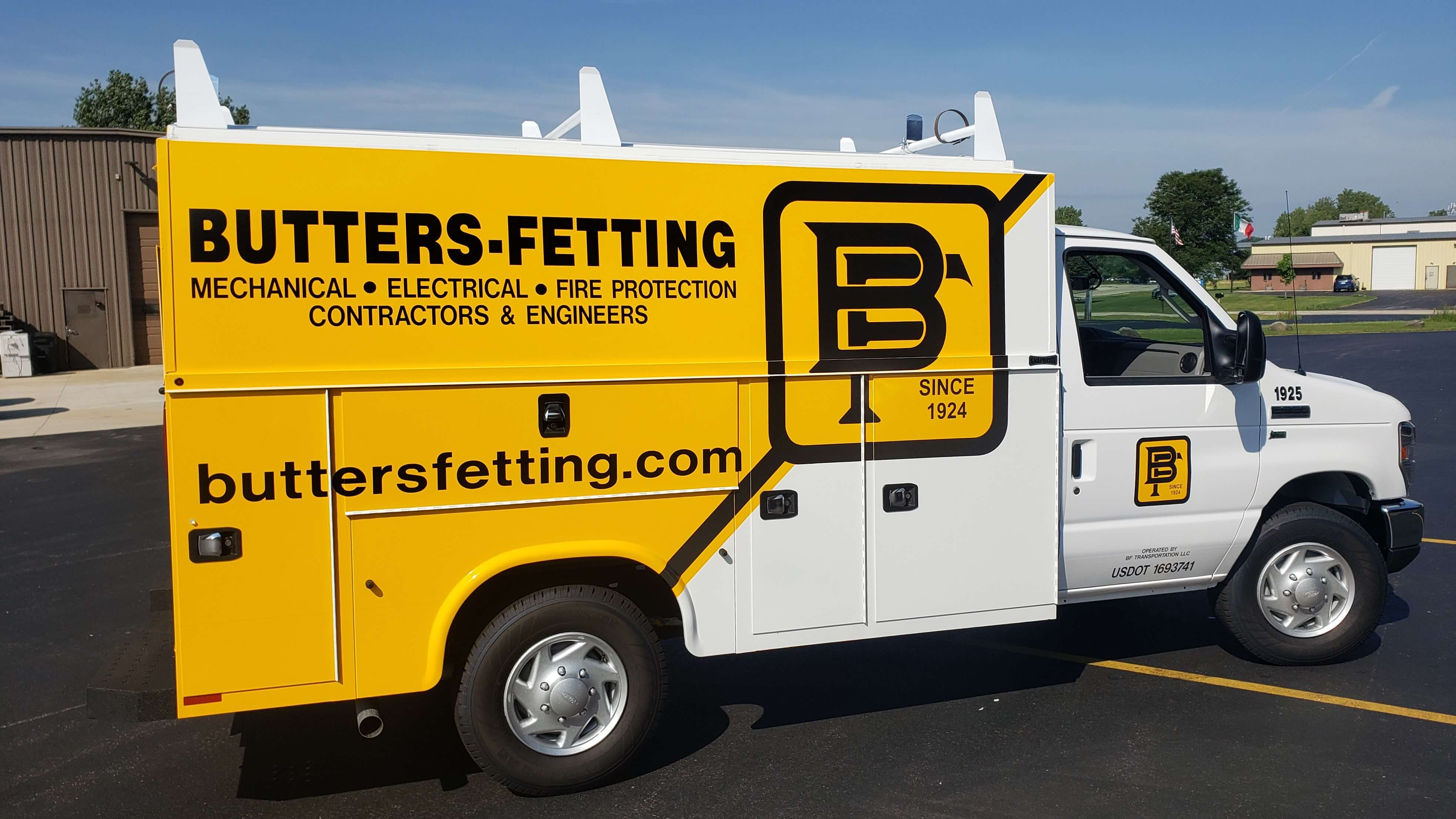 Yellow and Black Butters Fetting Service Truck Contractor Wrap Produced by Signs and Lines