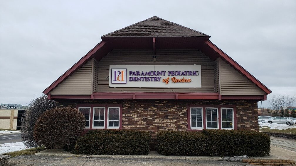 Paramount Pediatric Dentistry Sign with multiple colors in purple and orange with logo