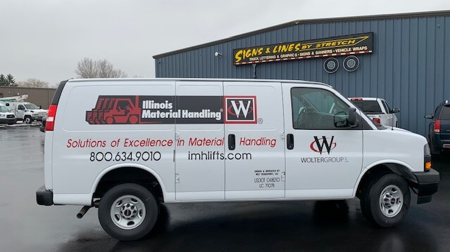 Illinois Material Handling Fleet Vinyl on service van with simple graphics on Signs and Lines Lot