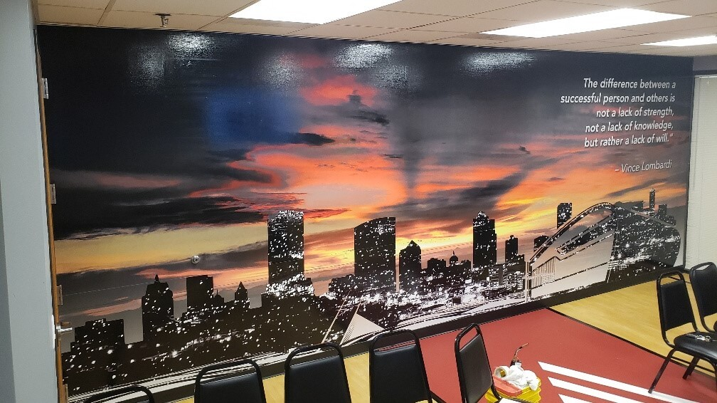 Indoor skyline wall mural printed on vinyl and installed by Signs and Lines by Stretch