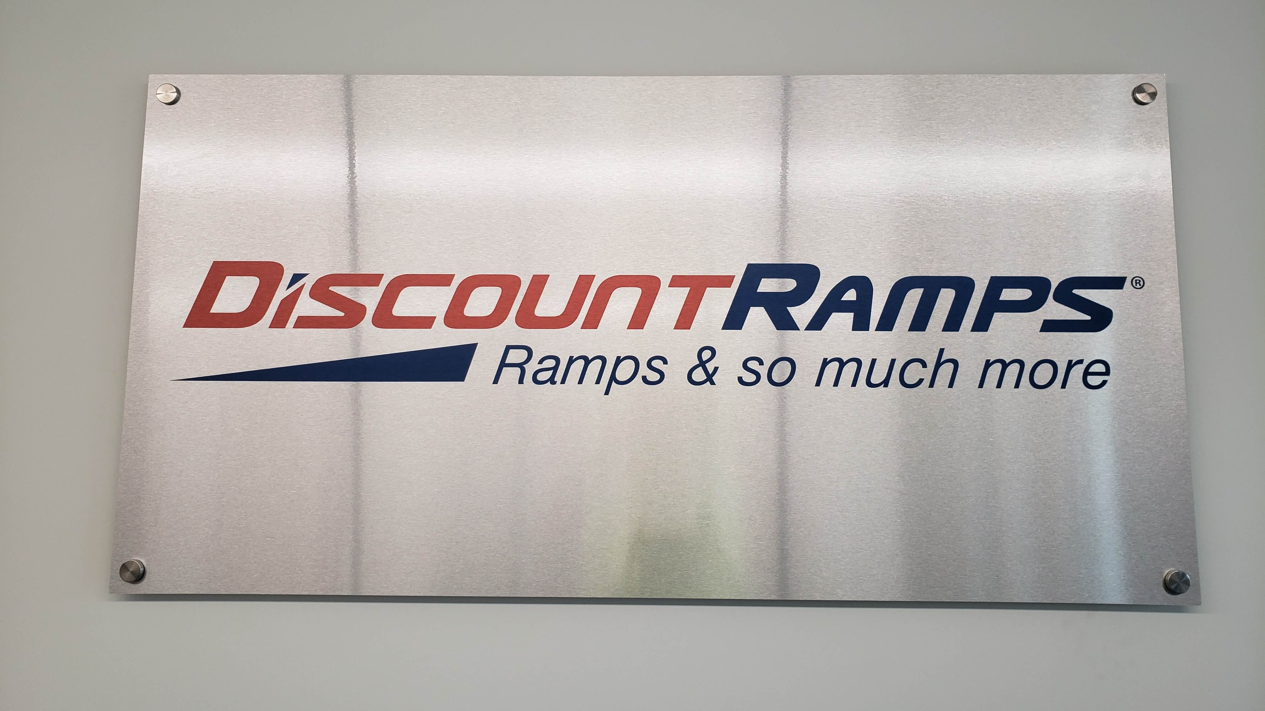 Indoor Metal Lobby Signs for Discount Ramps UV Printed direct by Signs and Lines