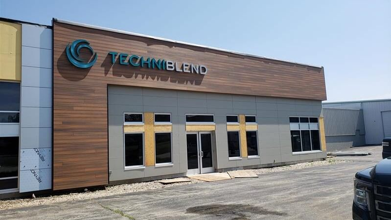 Techniblend Outdoor Channel Letters with custom swooshes and logos by Signs and Lines for New Waukesha Facility