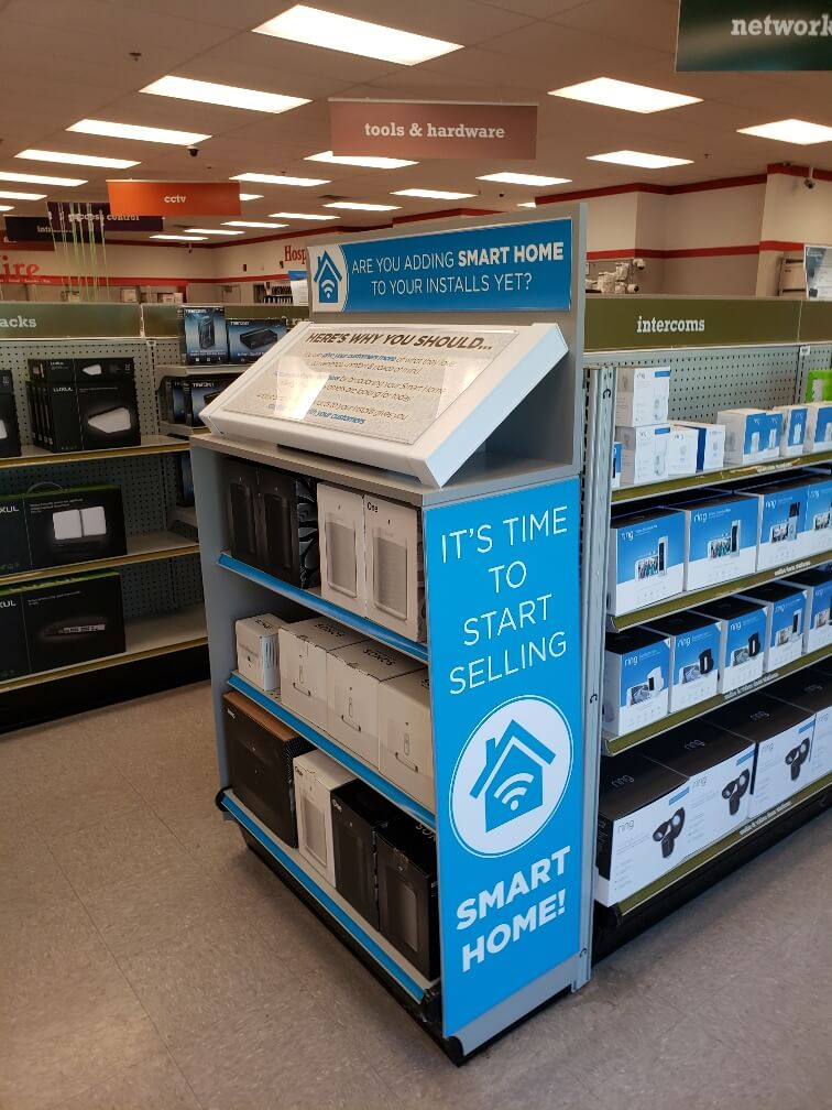 Indoor Point of Purchase Displays to promote Networking equipment by Signs and Lines