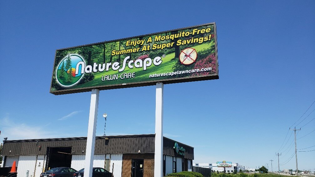 Large, full color pole sign for Naturescape contractors by Signs and Lines by Stretch