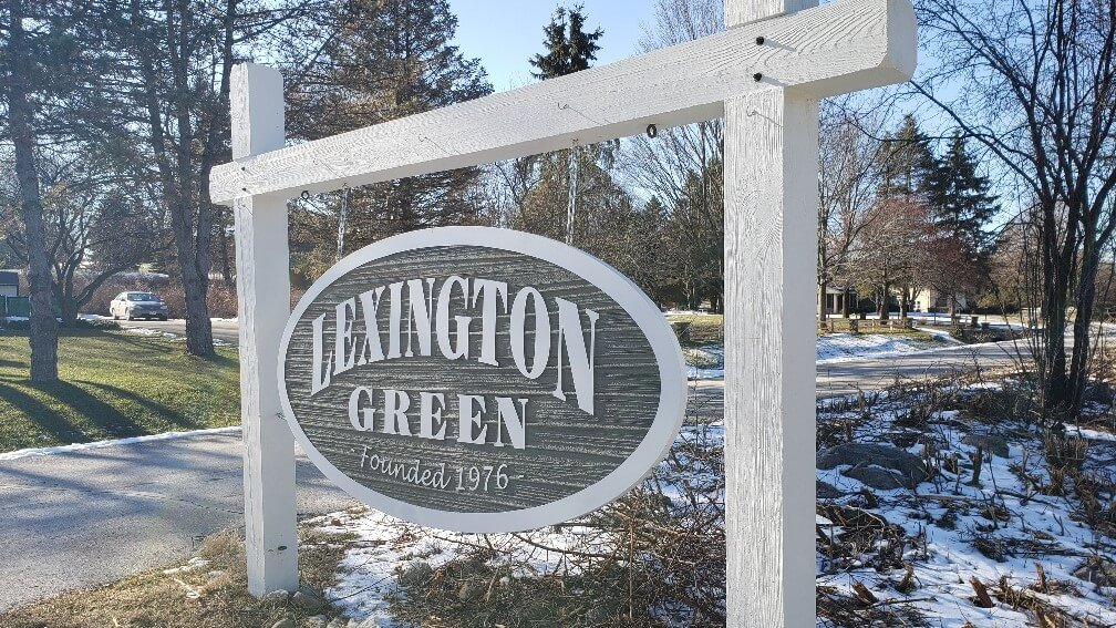 White and Green Lexington Green Post and Panel Sign by Signs and Lines by Stretch