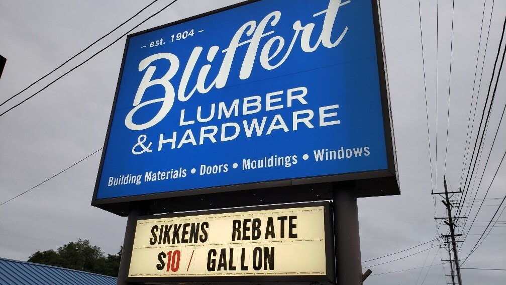 Large, outdoor pylon sign for Bliffert Lumber and Hardware in Waukesha Wisconsin