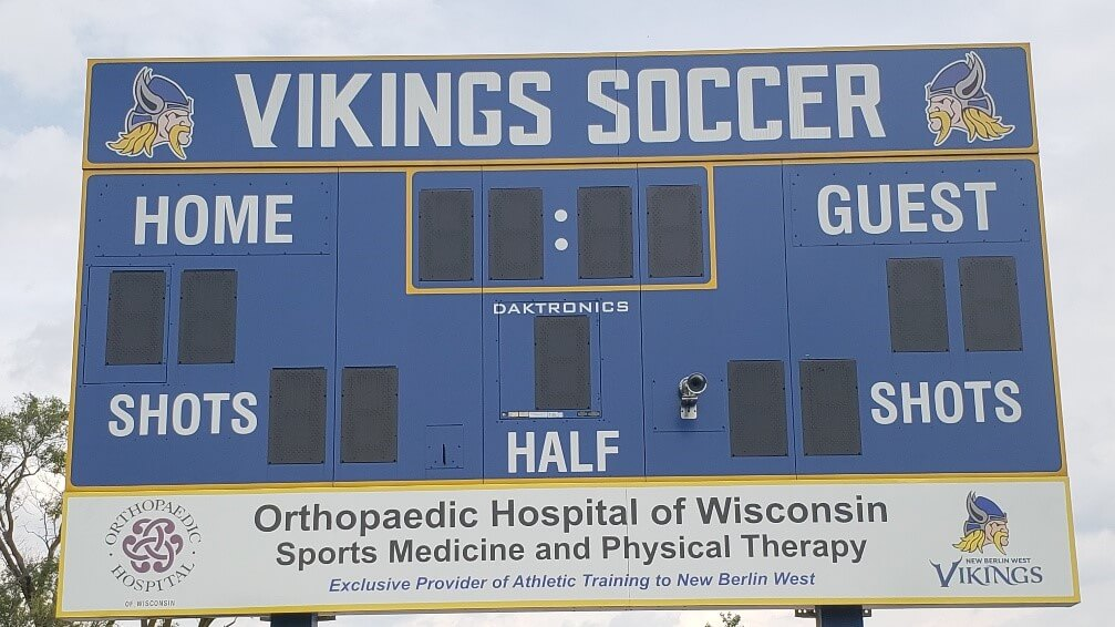 Carroll University Waukesha Recreational Sports Gym sign printed onto clear vinyl
