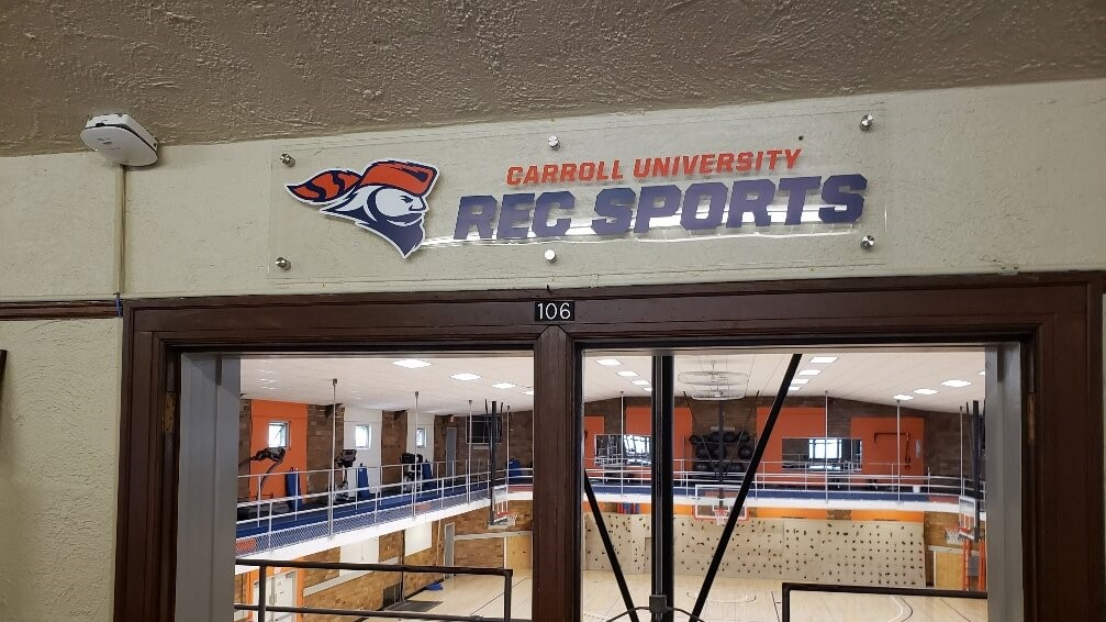 Carroll University Recreational Sports Gym Room Identification Logos with Mascot