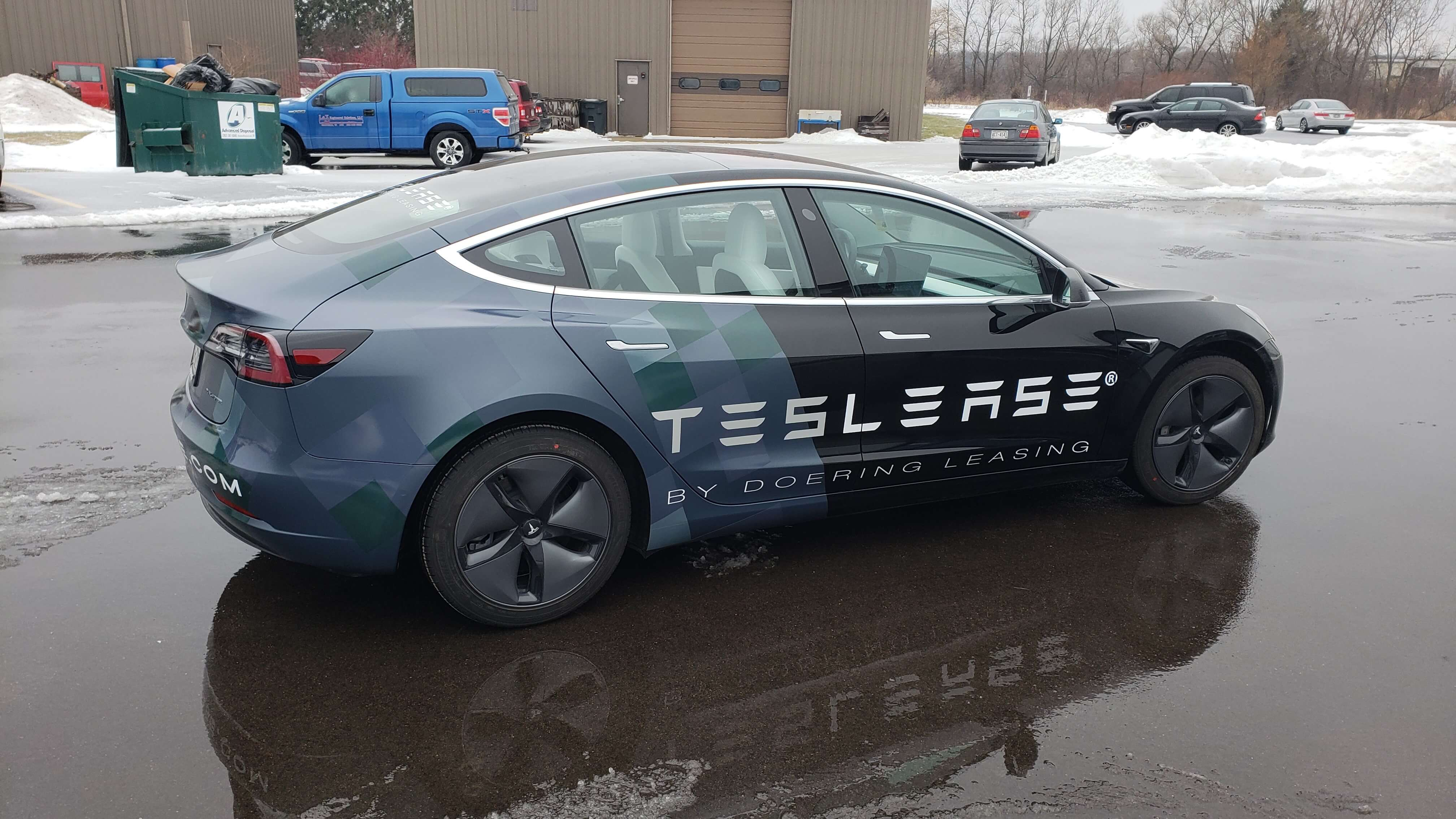 Tesla Lease Vinyl Graphics by Signs and Lines, full custom wrap designed for the Tesla Model 3