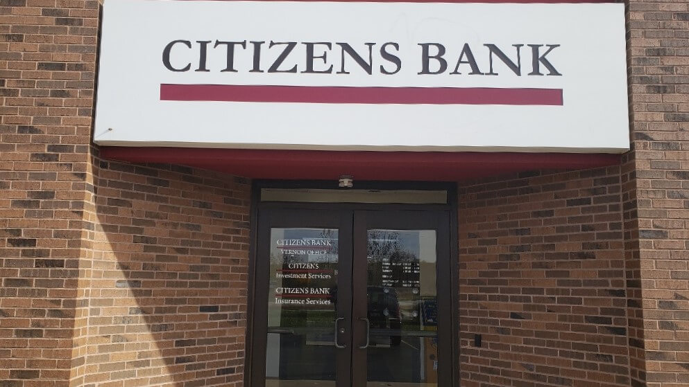 Large Citizens Bank Sign on New Location with Updated Hours on window Graphics
