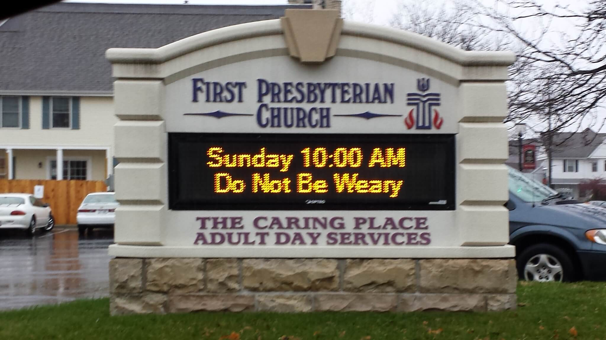 Outdoor LED Monument Sign with Changeable text for First Presbyterian Church