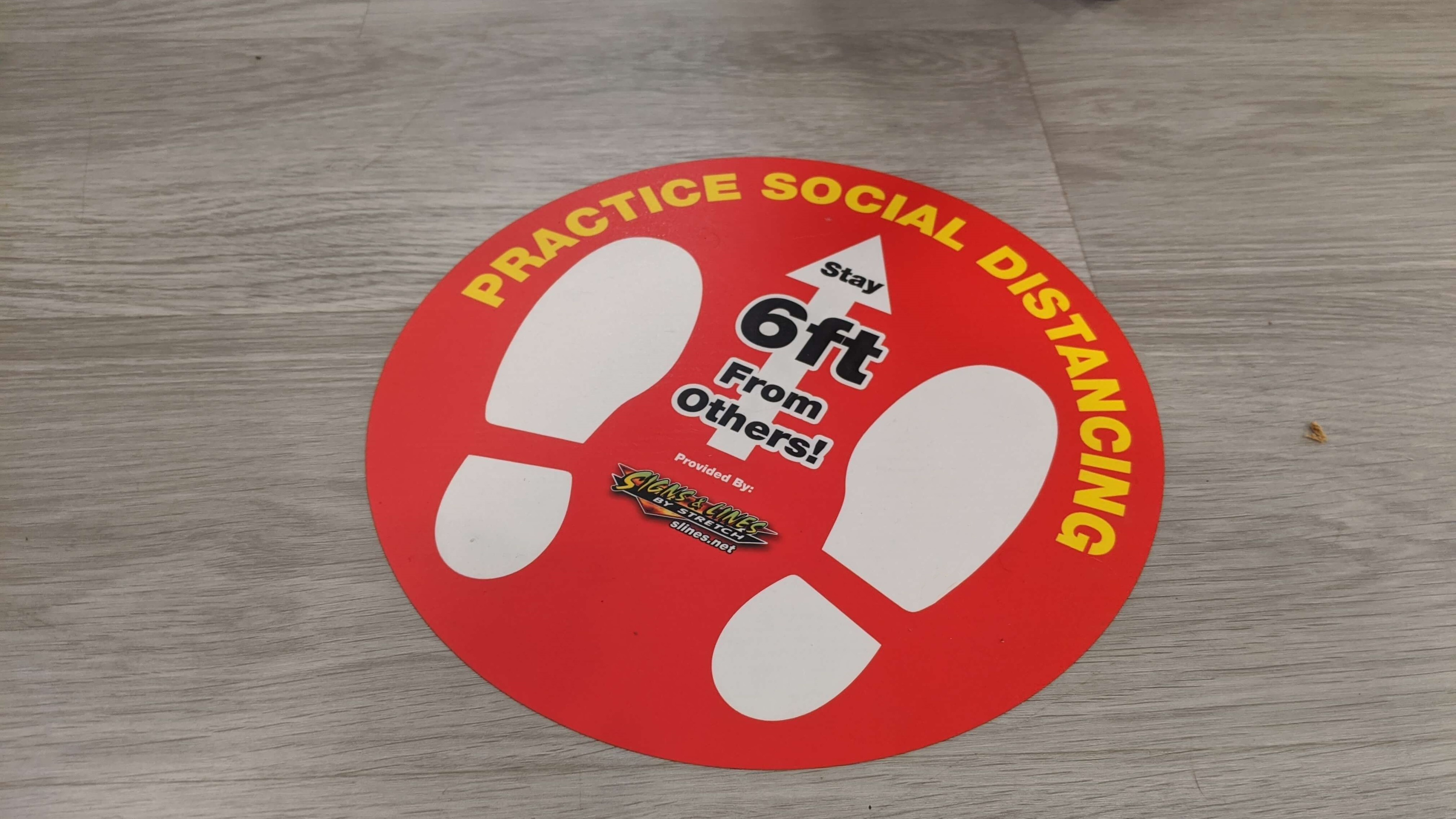 Indoor Social Distancing Floor Graphic Design 2020 By Signs and Lines by Stretch