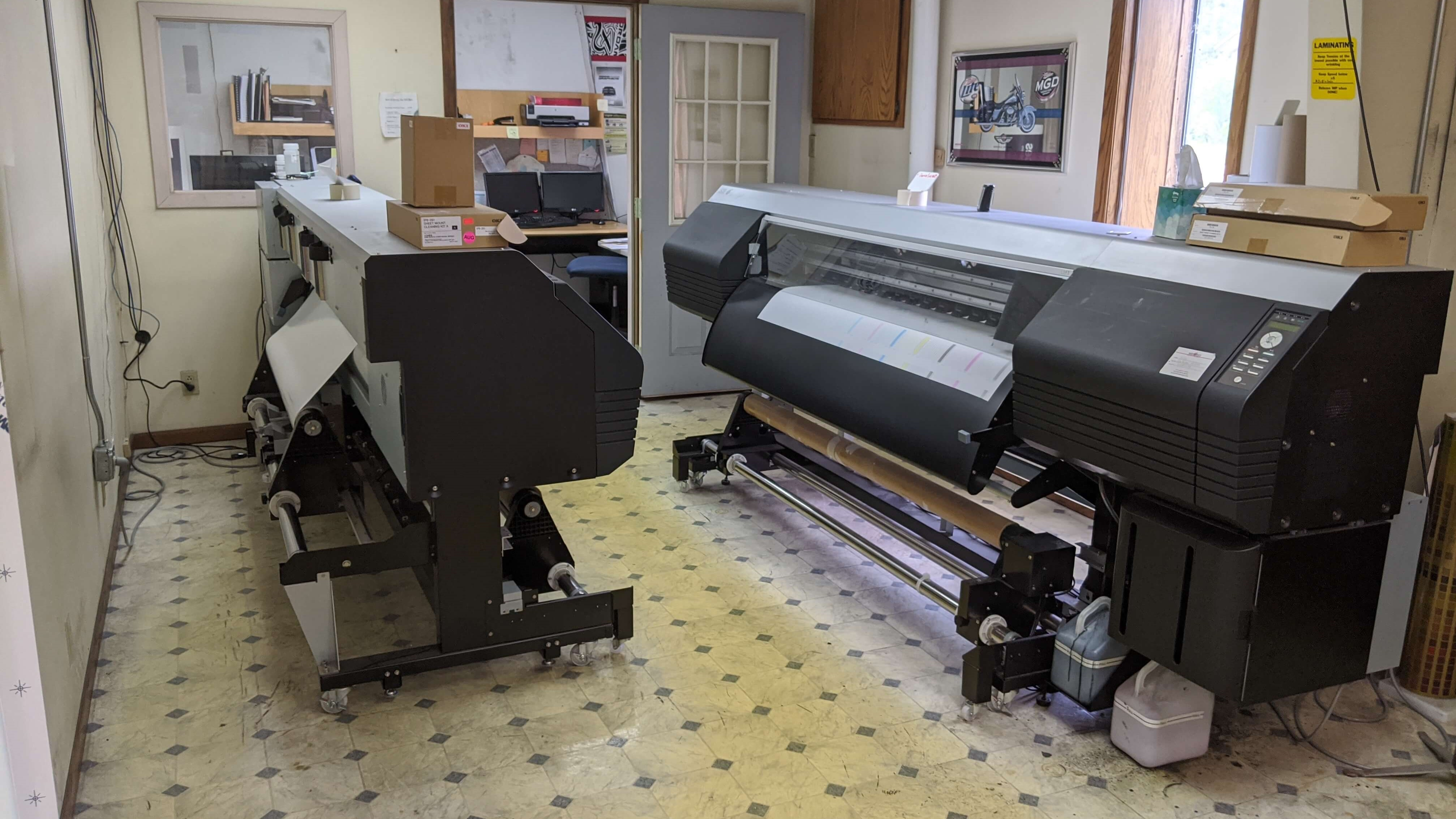 Our other large format printer waiting to be used to print large format vinyl for wraps, billboards, and more