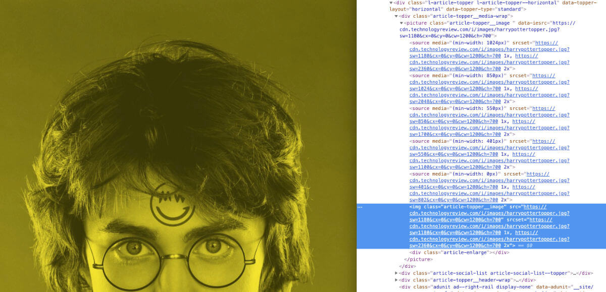 The featured image for a Techcrunch.com article showing the markup alongside it with not alternative text for the image. The image is a greenish-yellow tinted photograph of Harry Potter with a logo in the place of the lightning bolt scar on his forehead.