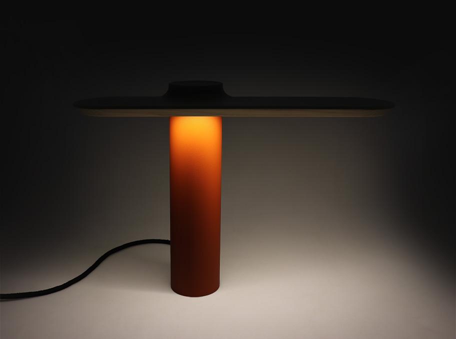 DANIEL edition, orange table lamp by Ferréol Babin