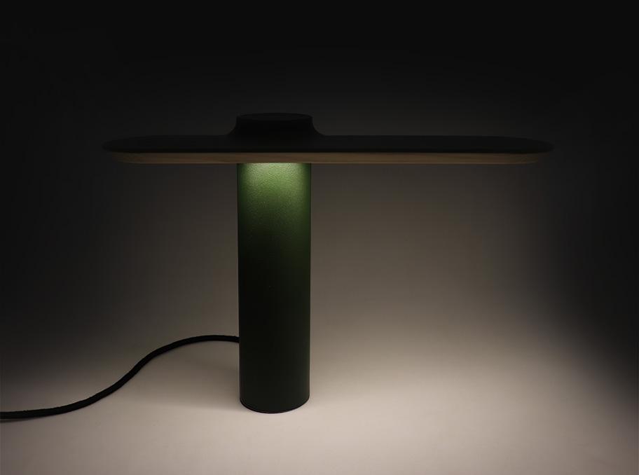 DANIEL edition, green table lamp by Ferréol Babin