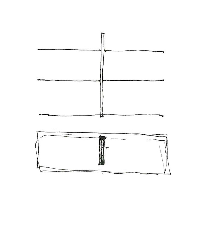 Preparatory drawing for Albatross shelves by Frédéric Richard, Belgian designer