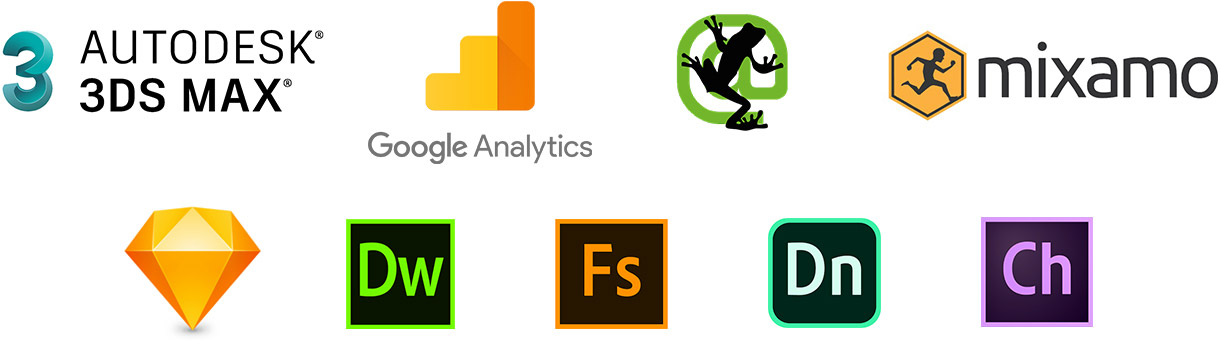 3ds max autodesk, google analytics, screaming frog, mixamo, bohemian code sketch, dreamweaver, dimension, character animator