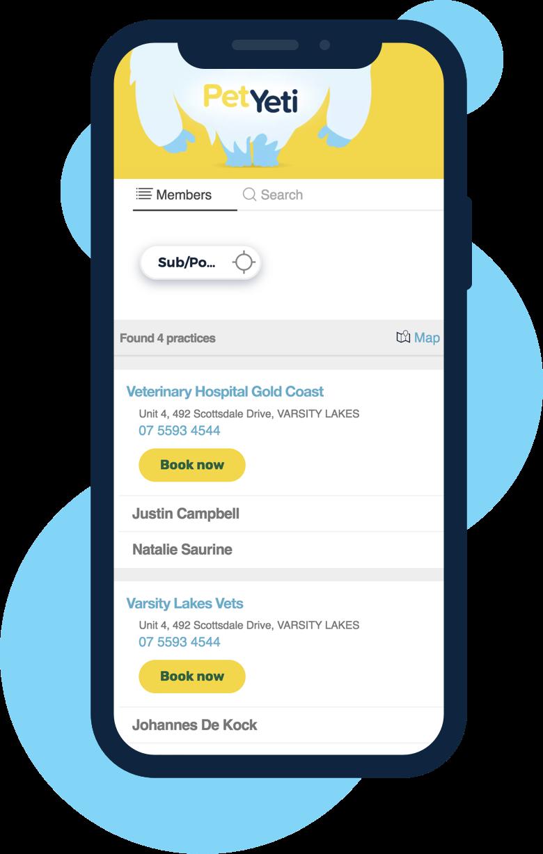 Example of PetYeti User Interface on mobile device; PetYeti Online Portal