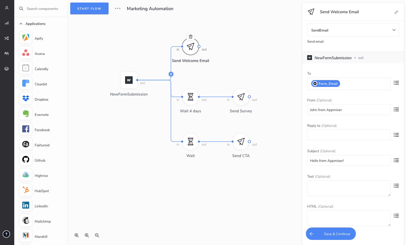 Create workflows by dragging app connectors onto the canvas.