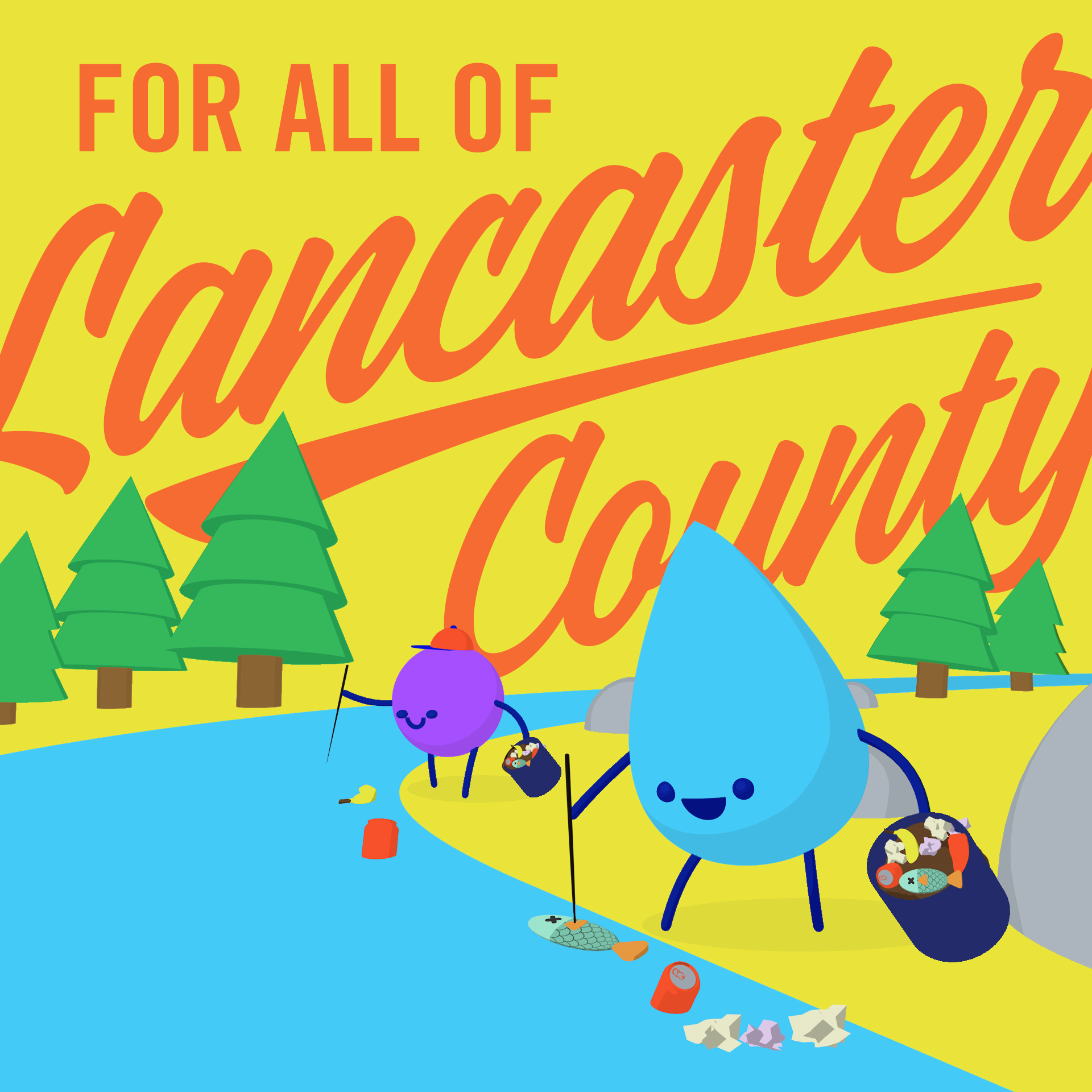 Jimmy and Droppy picking up litter with text that reads 'for all of Lancaster County'