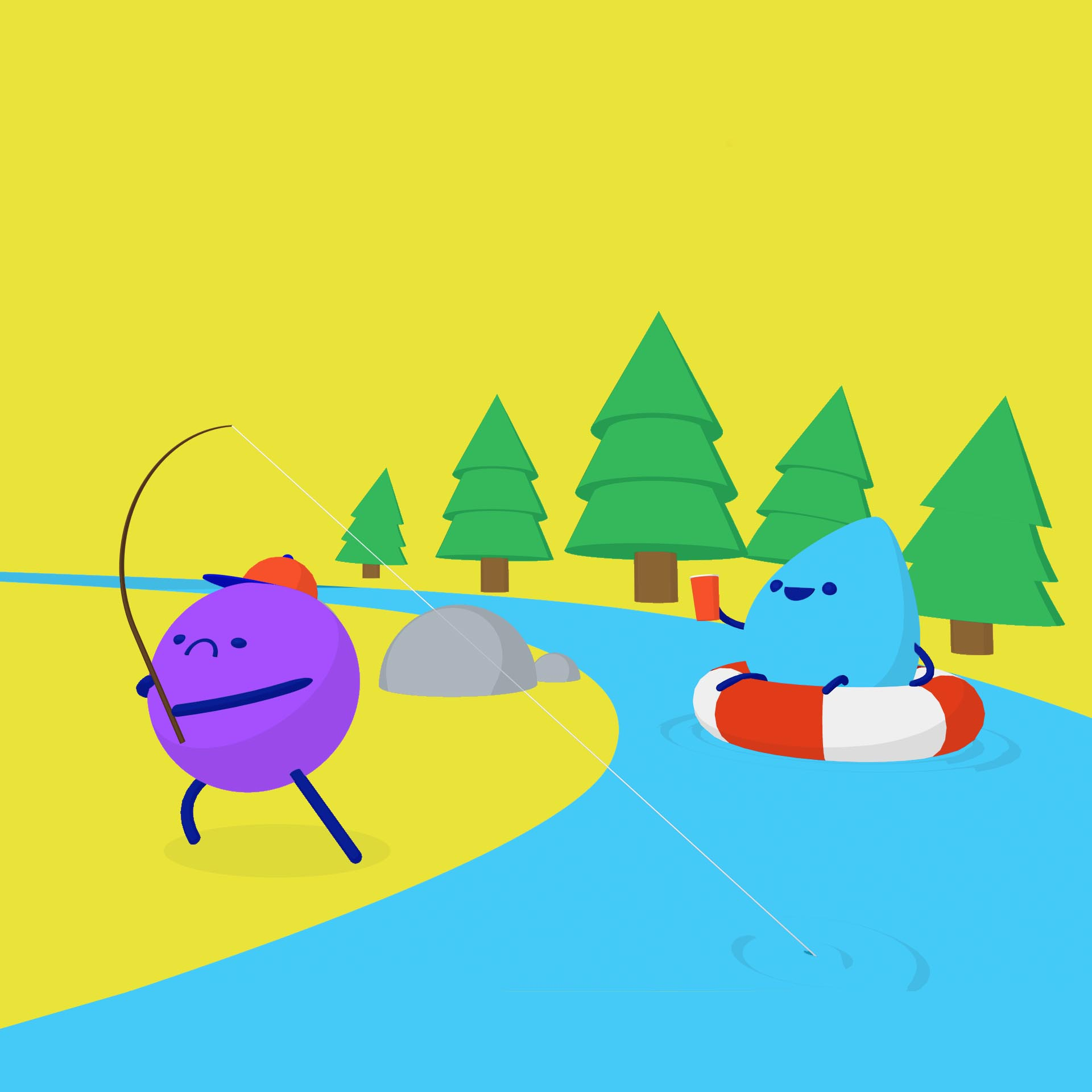 Illustration of round character fishing in a river with water droplet character tubing in the river