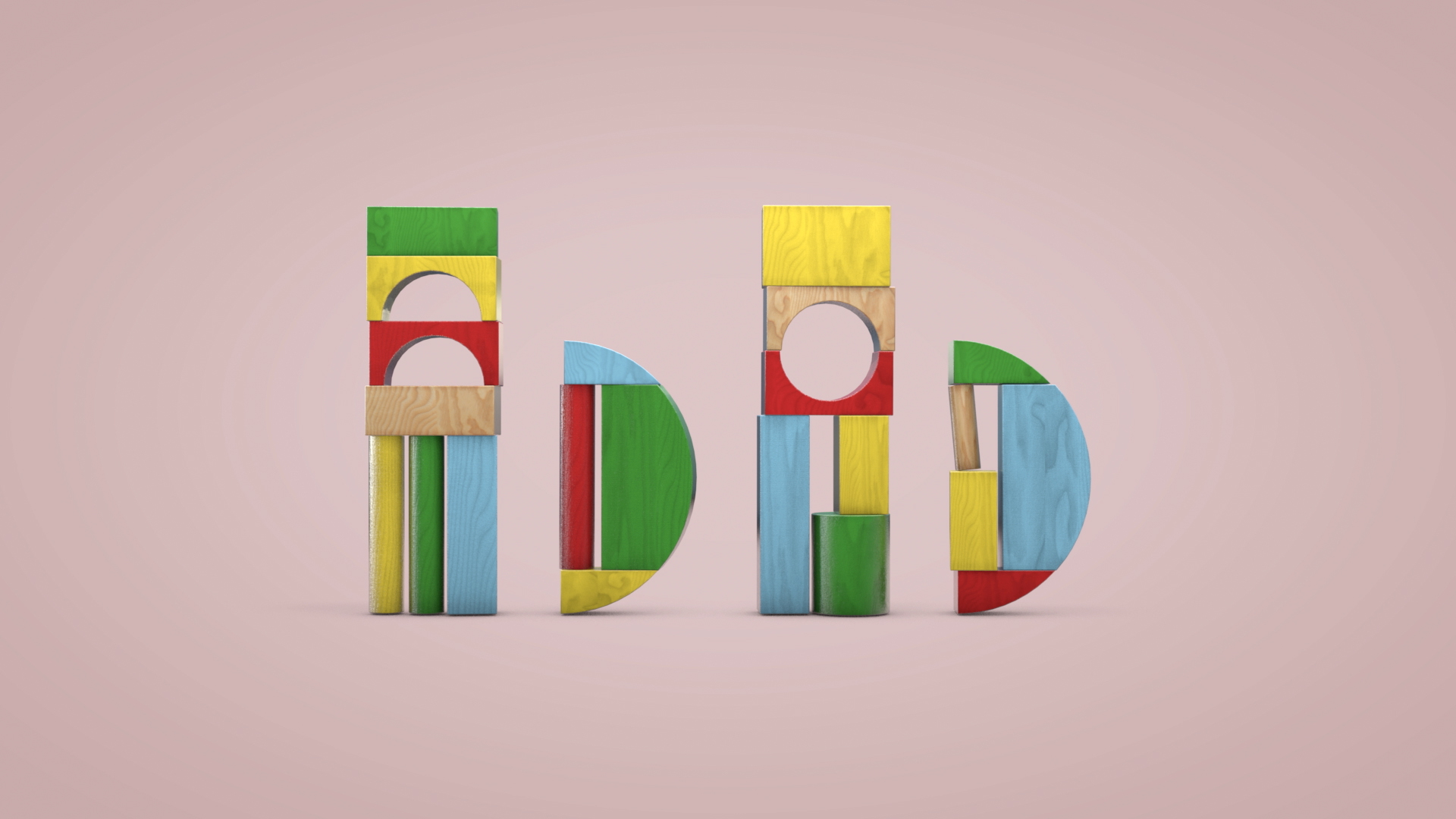 Bom Bom logo made of toy blocks
