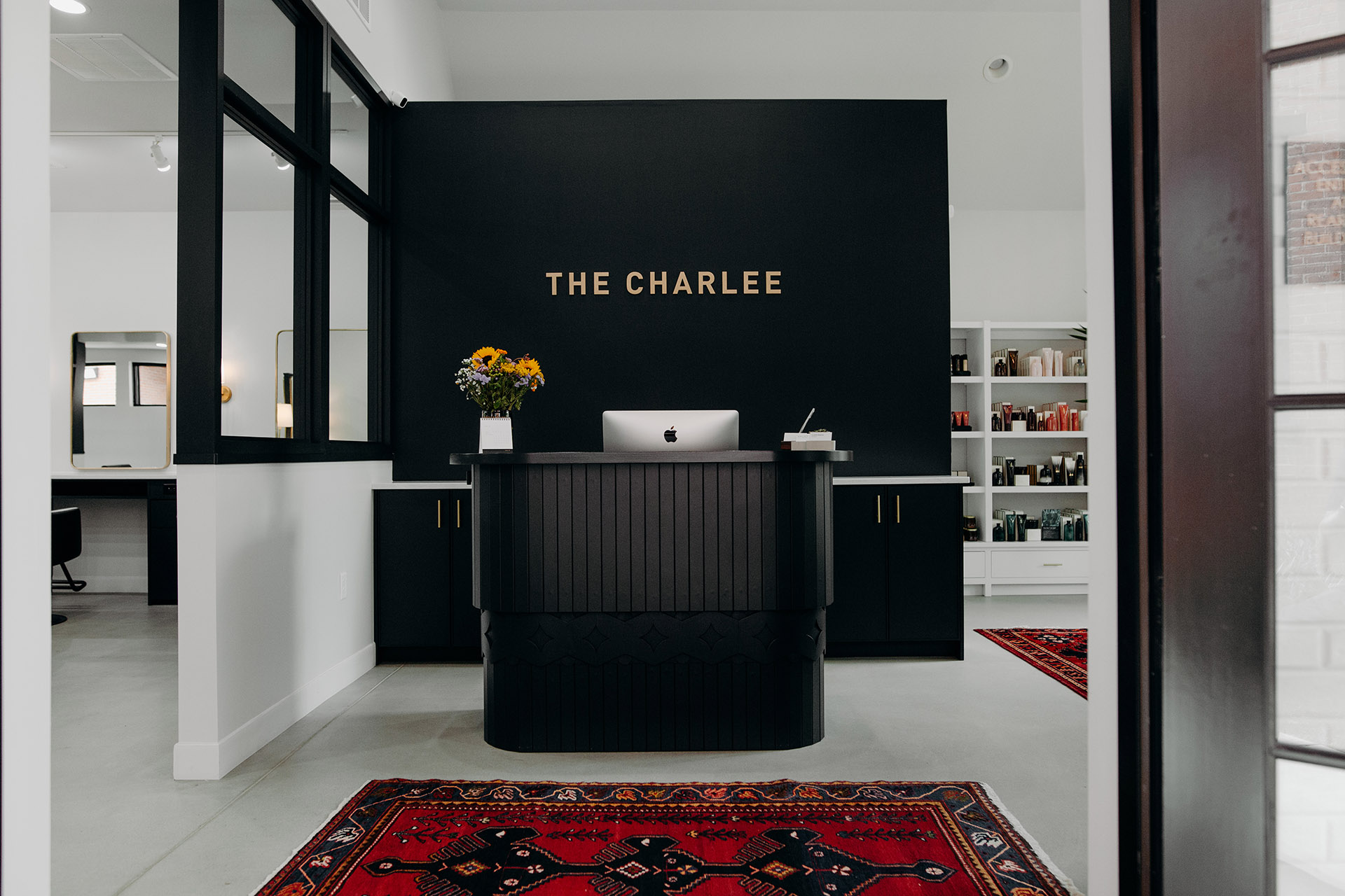 The Charlee salon's front desk