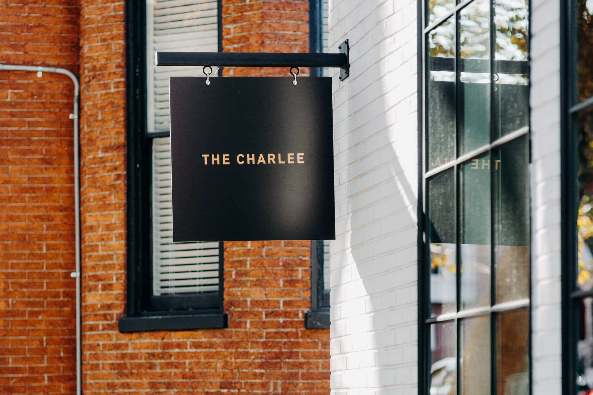 The Charlee salon's outside signage