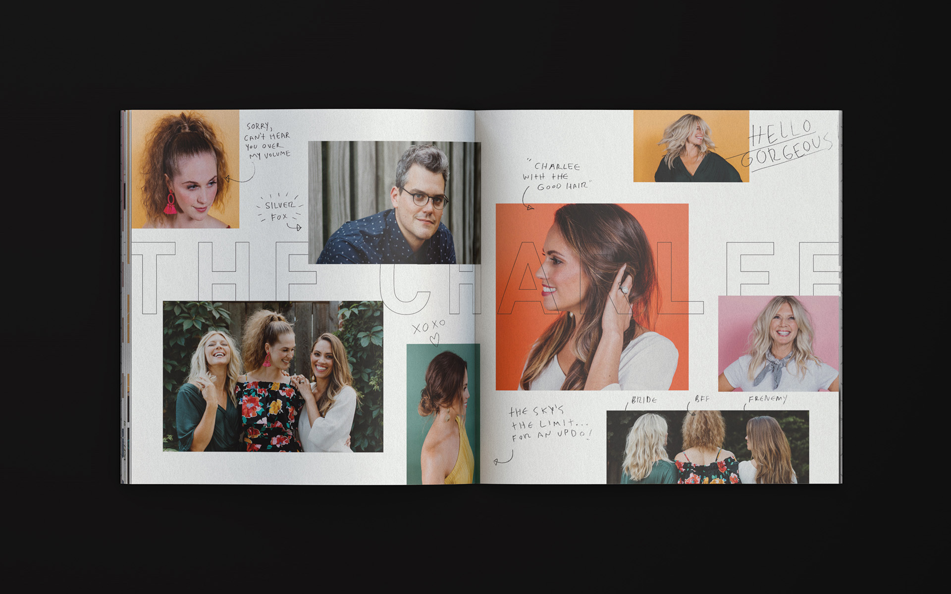 Inside spread of The Charlee salon's brochure featuring multiple images of attractive millennials with good hair