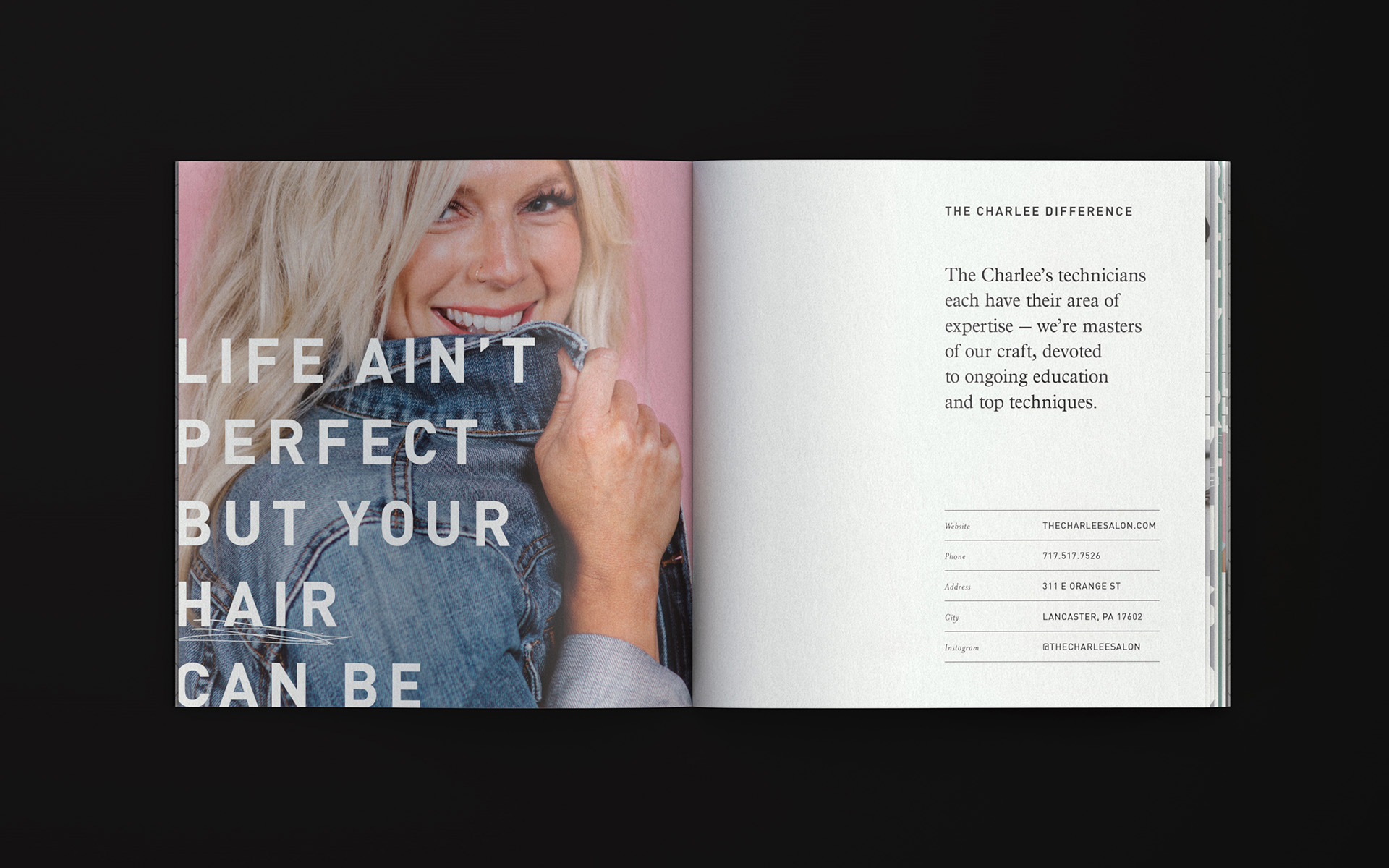 "Inside spread of the salon's brochure featuring a coy blonde woman. Text reads ""Life ain't perfect but your hair can be"""