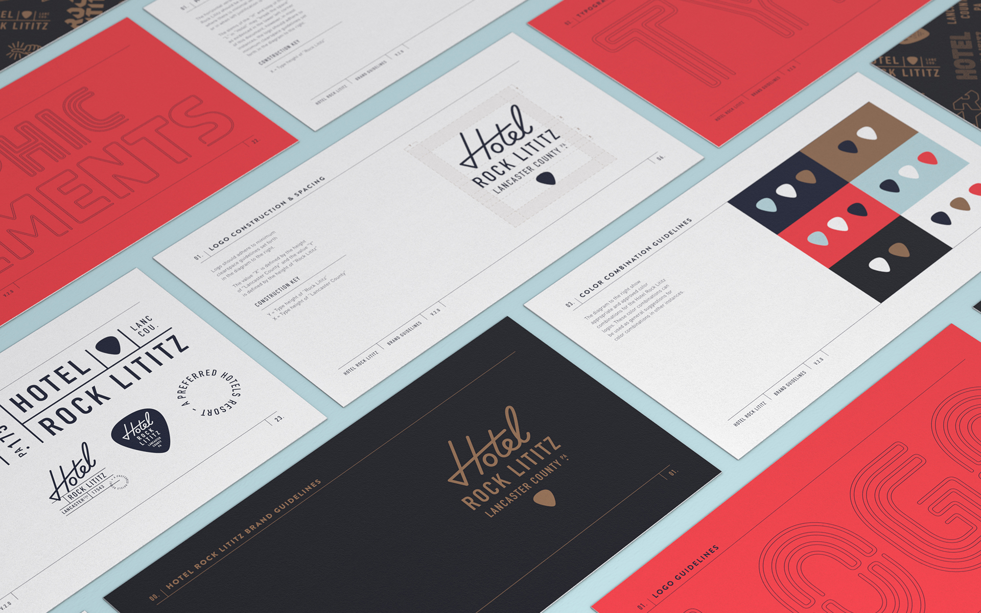 isometric perspective of Hotel Rock Lititz brand guidelines document
