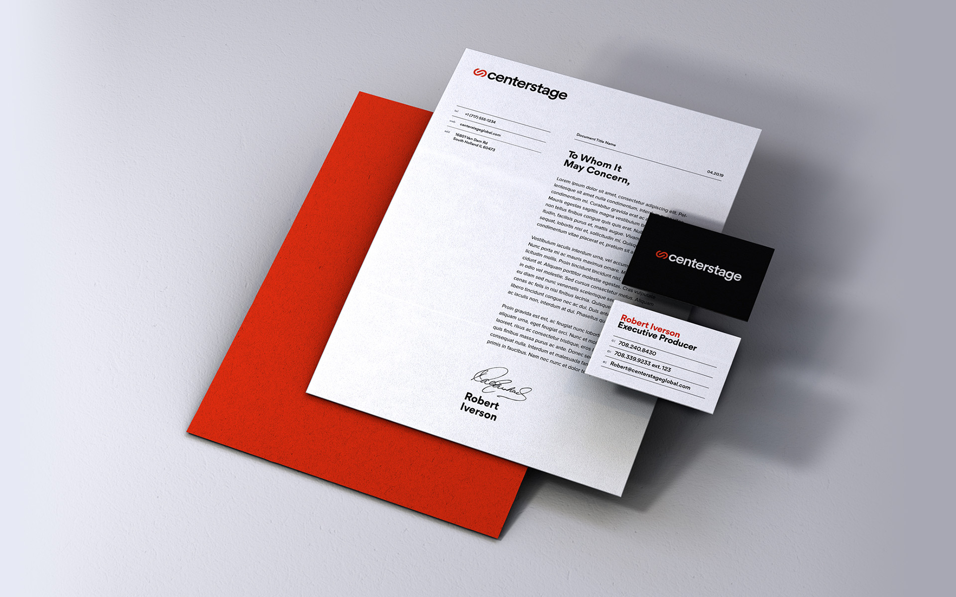 Centerstage collateral including business cards and letterhead design