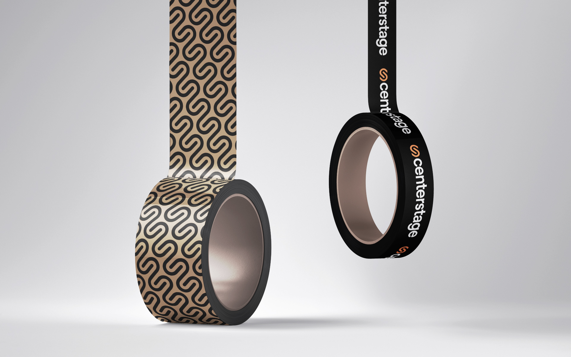 two rolls of tape featuring a patterned Centerstage logo
